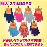 【秋冬物処分SALE】婦人 スマホ 対応 手袋(フリーサイズ)