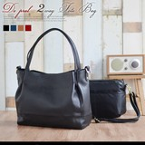 Cow Leather 4 Colors Inner Bag Attached Large capacity A4 Tote