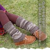 手作りの温かみ♪手編みシンプルレッグウォーマー【2トーンレッグウォーマー】アジアンファッション