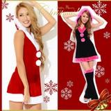 【クリスマス*上質】CUTE&SEXY!!レッグウォーマー付き♪Aラインサンタドレス コスチューム サンタコスプレ