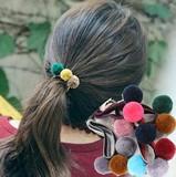 カラフルふわふわボール三つ付きのヘアゴム  4色  2016秋冬新品