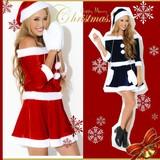 【クリスマス*上質】CUTE&SEXY!!帽子&ミトン付き♪オフショルサンタドレス コスチューム サンタコスプレ