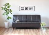 【直送可】【ケルン】座面厚31cm!重厚感のある本革仕様のソファベッド 3Pソファ