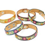 Gift Show Flower Embroidery Leather Bracelet