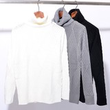 【SALE セール】 メンズ バスケット編み タートルネック ニット / セーター 無地 長袖 カットソー トップス