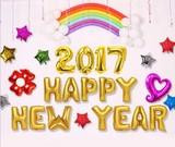 パーティーバルーン     2017 happy new year 文字風船  5カラー