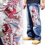 2016年新作 和柄刺繍ジーンズ 紅白鯉柄