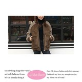 【2016AW新作】フェイクムートン&ボア素材 切り替えデザインジャケット