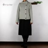 《再入荷》【柔らか!】《ボタンがかわいい》《日本製》ガーター編み ボレロ【2016冬】<ナチュラル>