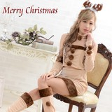 【新着】0915モコモコトナカイ6点セットクリスマス サンタコスチューム キャバドレス