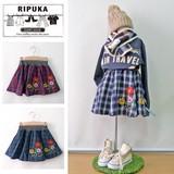 【SALE】刺繍チェックサーキュラースカート