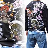 2016F/W新作和柄刺繍長袖Tシャツ 風神雷神柄