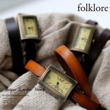 【folklore】アンティークな雰囲気。本革2連ベルト腕時計/ウォッチ420981