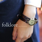 Genuine Leather Antique Double Belt Wrist Watch
