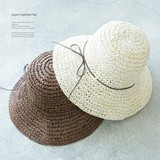 Casual Hand Knitting Broad-brimmed Paper Suede Ribbon Hat Hats & Cap