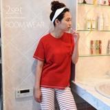 ◆限定年末大特価◆Tシャツ+ハーフパンツセットパジャマ/ねこ/猫/ルームウェア◆423356