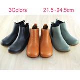 【本革】日本製 ころんと可愛い4Eのサイドゴアショートブーツ/インヒール<小さいサイズあり>