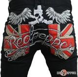 【新作】ユニオンジャックポケット&スカルウィング刺繍 セミストレートツイルパンツ<ブラック>>