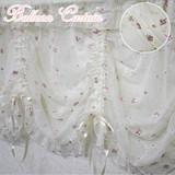バルーンカーテン/カフェカーテン<薔薇 ローズ リボン 刺繍 レース チュールレース>