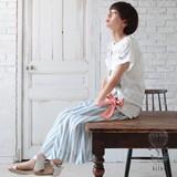 *5/10 BL再入荷*【リンネル最新号掲載】<即納>[2017SS]ブロックプリントスカート ストライプ