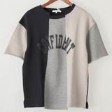 【2017年SS新作】リメイク3面切替え半袖Tシャツ
