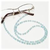 【30%OFF】【天然石】シーブルーカルセドニー×水晶 メガネチェーン 眼鏡チェーン グラスコード