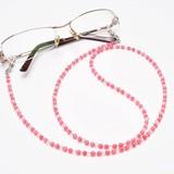【30%OFF】【天然石】ピンク珊瑚×水晶 メガネチェーン 眼鏡チェーン グラスコード