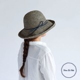 【春夏新作】[帽子]RAFFIA クロシェハット  レザーストリング