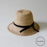 【春夏新作】[帽子]RAFFIA&JUTE ラウンド クラウン  ハット ジェム