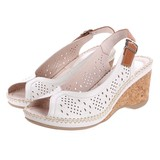 Genuine Leather 2017 S/S Cow Leather Mesh Cork Wedged Bag Band Sandal
