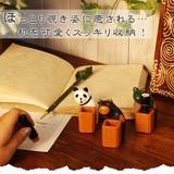 ほっこり覗き姿に癒される…机を可愛くスッキリ収納!【木彫りアニマル印かん立て】アジアン雑貨