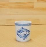 染付 双鶴 ロックカップ 伝統工芸士 村上三和子