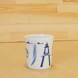 染付 JAPAN ロックカップ 伝統工芸士 村上三和子