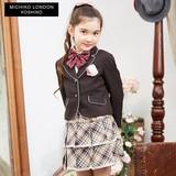 (入学式女の子)MLKパイピングカラーJK格子スカートセットスーツ 入園入学/卒園卒業