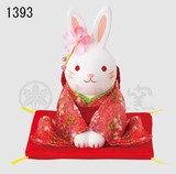 Ornament Kinsai Crape Flower Rabbit Bow