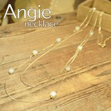 NEW【Angie】キューブパール Wロング ゴールド ネックレス!シンプル&フェミニン!