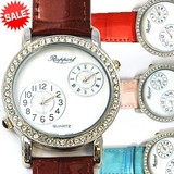 【在庫処分SALE】ツインムーブメントウォッチ 革ベルト 本革 ファッションウォッチ レディース腕時計