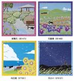 【たまのお散歩】小風呂敷(ねこ・猫・ネコ)花菖蒲・紫陽花・天の川(七夕)・向日葵(ひまわり)