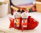 【アニマル置物】 猫釣り2個セット  サカナソファー  3サイズ