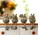 【アニマル置物】 かわいい蛙4個セット  スマイルカエル