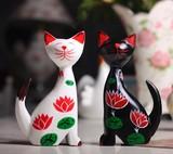 【アニマル置物】 黒+白猫2個セット  蓮柄
