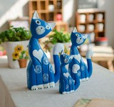 【アニマル置物】 ネコふァーミリー3個セット  ブルー猫