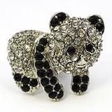 Glitter Brooch Panda Bear Crystal Fashion Accessory