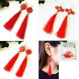 China Search China Fringe Chinese Characters Pierced Earring