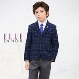 ELLE(男の子入学式フォーマル)ネイビー格子ジャケットセットスーツ 入園入学/卒園卒業