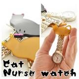 ネコシルエット ナースウォッチ2 懐中時計 看護士 医療 ねこ デコ 時計 ナースウォッチ