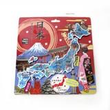 <和雑貨・和土産>エッチング 日本地図パズルマグネット 日本の名所 (商品No.303-350)
