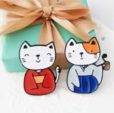 ★2017春新作★ かわいい猫のブローチ   カップル  クリップ  2色
