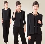 【ブラックフォーマル】ノーカラーサテン切替えジャケットブラウス付きパンツスーツ