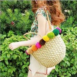 ★2017春新作★ カゴバッグ  ラフィアボール籐製のバッグ